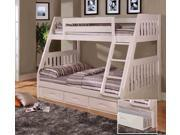Discovery World Furniture White Mission Bunk Bed Twin/Full with 3 Drawer Storage