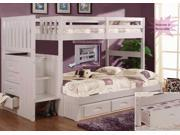 Discovery World Furniture White Staircase Bunk Bed Twin/Full (Stair Stepper) with 3 Drawer Storage