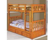 Discovery World Furniture Honey Bunk Bed Twin/Twin Mission with 3 Drawers on One Side