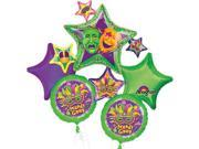 Mardi Gras Comedy Tragedy Masquerade Star Cluster Bouquet of 5 Balloons