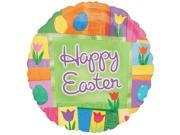 """Happy Easter Flowers & Eggs Patchwork 18"""" Round Mylar Balloon"""