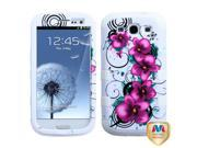 Morning Petunias / Solid White TUFF Hybrid Protector Case Cover for Samsung I535 / I747 / L710 / R530 / T999 (Galaxy S III)