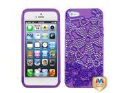 Solid Pearl Purple / Electric Purple Flowerpower Hybrid Protector Cover with Diamonds for Apple iPhone 5
