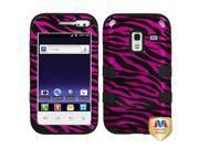 Zebra Pattern Hot Pink / Black (2D Silver) / Black TUFF Hybrid Protector Case Cover for Samsung R820 (Galaxy Admire 4G)