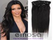Emosa Silky soft Remy Human Hair Clips In Extensions Full Head 15 inches #1 Jet Black 70g