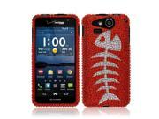 Kyocera Hydro Elite C6750 Hard Case Cover - Red Fishbone Fossil Full Rhinestones