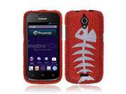 Huawei Vitria H882L Y301-A2 Hard Case Cover - Red Fishbone Fossil Full Rhinestones