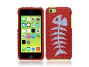 Apple iPhone 5C Light Lite Hard Case Cover - Red Fishbone Fossil Full Rhinestones