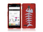 LG Optimus L9 P769 Hard Case Cover - Red Fishbone Fossil Full Rhinestones