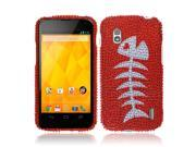 LG Google Nexus 4 E960 Hard Case Cover - Red Fishbone Fossil Full Rhinestones