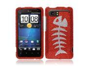 HTC Vivid Holiday Hard Case Cover - Red Fishbone Fossil Full Rhinestones