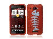 HTC Droid DNA 6435 Incredible X Hard Case Cover - Red Fishbone Fossil Full Rhinestones