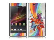 Sony Xperia Z Vinyl Decal Sticker - Rainbow Line Flower Butterfly