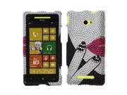 HTC Windows Phone 8X Zenith 6990 Hard Case Cover - Sexy Lip With Full Rhinestones