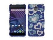 ZTE Vital N9810 Supreme Hard Case Cover - Blue Pattern Hearts With Full Bling Stones