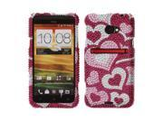 HTC EVO One 4G LTE Hard Case Cover - Pink Pattern Hearts With Full Bling Stones
