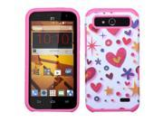 ZTE Speed N9130 Hard Cover and Silicone Protective Case - Hybrid Heart Graffiti/Hot Pink Fusion