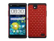 ZTE Grand X Max Z787 Max+ Z987 Hard Cover and Silicone Protective Case - Hybrid Red/Black Luxurious Lattice Dazzling w/ Bling Stones