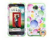 LG Optimus L70 MS323 Hard Cover and Silicone Protective Case - Hybrid Rainbow Bigger Bubbles/Electric Green Tuff