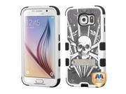 Samsung Galaxy S6 Hard Cover and Silicone Protective Case - Hybrid Sword and Skull/ Black Tuff With Metal Stand