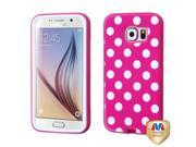 Samsung Galaxy S6 Hard Cover and Silicone Protective Case - Hybrid VERGE Hot Pink White Polka Dots/ Hot Pink
