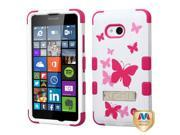 Microsoft Nokia Lumia 640 Hard Cover and Silicone Protective Case - Hybrid Butterfly Dancing/Hot Pink Tuff w/ Metal Stand + Tool