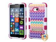 Microsoft Nokia Lumia 640 Hard Cover and Silicone Protective Case - Hybrid Camo Wave/Hot Pink Tuff With Metal Stand + Tool