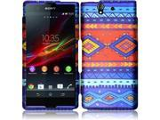 Sony Xperia Z C6603 C6606 Hard Case Cover - Blue Decorative Tribal Texture + Tool