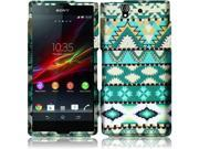 Sony Xperia Z C6603 C6606 Hard Case Cover - Mint Green Aztec Texture + Tool