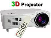 White 3D HDMI HD 1080P 2200LM 50000 Hours Home Theater Projector For Game Support Red & Blue 3D+ HDMI+ YPbPr+ AV+ S-video+ VGA