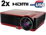 Ship from USA HD 1080P 720P 2000 lumens LED LCD Projector Home Theatre 2xHDMI 2xUSB VGA ATV SD S-Video PS3 Wii (RD-803)-Red
