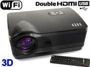 New Android WIFI 3D 1080P 2*HDMI 2* USB Native 1280*768 3000 lumens LED Multimedia HD Projector for Home Theater PC GAME PS3 XBOX-Black