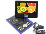 Ship from USA 9.5'' Portable 16:9 TFT LCD Monitor 180° Swivel Screen DVD Player with USB SD Card Slot,built-in Speaker / Headphone jack, Support AVI MPEG2 MPEG4 MP3 WMA MP4 CD DVD VCD - Blue