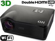 Brand New Android 4.2 WIFI 3D 2000:1 1080P 2*HDMI/2*USB Native 1280*768 3000 lumens LED Multimedia HD Projector for Home Theater-Black