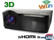 Android WIFI Internet Support 3D 16:9/4:3 1080P 2*HDMI 2*USB 3000 lumens LED Multimedia HD Business Projector for Home Theater-Black