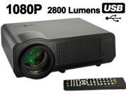 Ship from USA HD 1080P 720P 2800 lumens 20000 Hours LED Projector Home Theatre + Remote + VGA Cable+AV Cable - Black