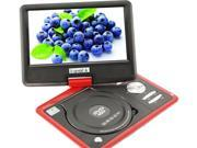 US 9.5'' Portable TFT LCD 16:9  Monitor 180° Swivel Screen DVD Player w/ Built-In USB SD Card Slot, Support AVI MPEG2 MPEG4 MP3 WMA MP4 CD DVD VCD JPEG Shockproof Analog TV / FM (988)- Red