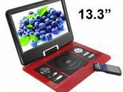 US 13.3'' Portable TFT LCD 16:9  Monitor 270° Swivel Screen DVD Player w/ Built-In USB SD Card Slot, Support AVI MPEG2 MPEG4 MP3 WMA MP4 CD DVD VCD JPEG Analog TV / FM (1389)- Black