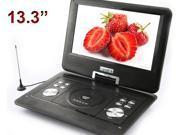 "13.3"" Handheld Portable DVD Player Game+USB+SD+MP4 Swivel&Flip analogue TV black"