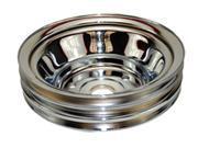 SBC Chevy 283-350 Chrome Steel LWP Triple Groove Crankshaft Pulley