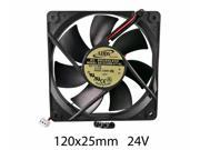 120mm 25mm New Case Fan 24V DC 81CFM Rack Computer Cooling Ball Brg 2Wire 383A*
