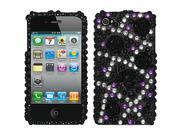 Full Diamond 3D Case For iPhone 4/ 4S- Black Spider & Flower