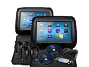 "XTRONS Black Pillow 2X Twin Car Headrest DVD Multi-Media Player 9"" Digital Touchscreen Game Disc IR Headphone"
