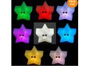 2 Pcs Shine 7-Color Changing LED Lamp Night Light Star Home Room Decor Party Kids Gift