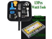 Watch Repair Tools Link Pin Remover Back Case Opener Holder + 360pcs Spring Bars