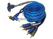 Xscorpion QTR9 4-Channel Triple Shielded Audio Stereo Copper 9 Feet Blue RCA Cable