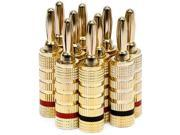 5 PAIRS Of High-Quality Gold Plated Speaker Banana Plugs, Closed Screw Type