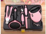 5-in-1 Pet Grooming Tools Kit Nail Clipper Slicker Brush Steel Pin Comb De-shedding Comb Retractable Leash
