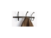 Village Wrought Iron CT-WH-3 Wall Mounted Wrought Iron Coat Rack with 3 Hooks