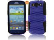Black TPU Purple Net Hybrid Case Soft&Hard 2 Part Cover For Samsung Galaxy S3 SIII